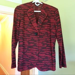 Misook • One Button Red + Black Jacket